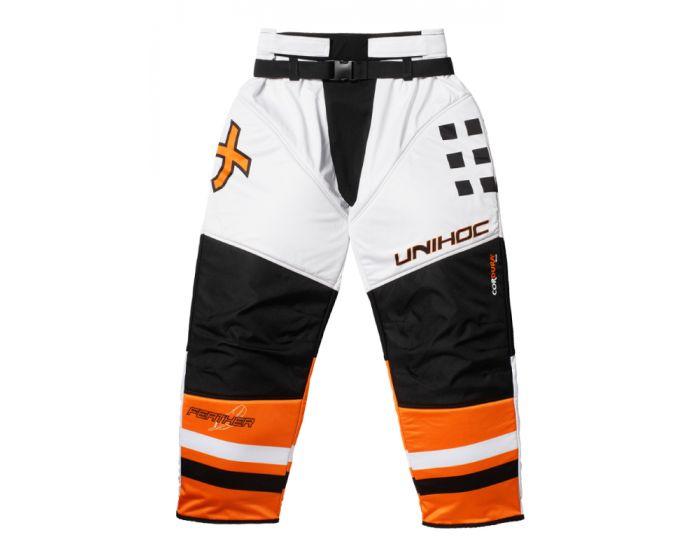 Unihoc Feather Goaliehose Junior weiss/neon orange