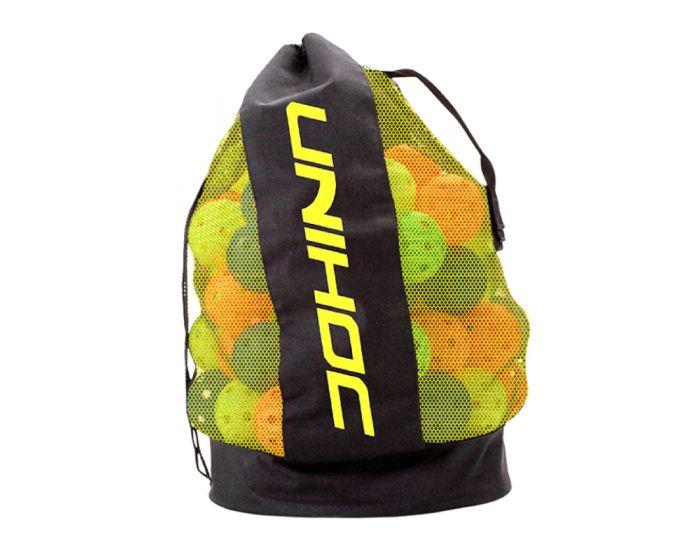 Unihoc Balltasche schwarz/neon gelb bietet Platz für bis zu 100 Bälle.