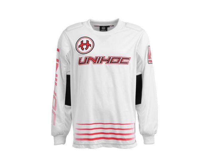 Unihoc Inferno Goaliepullover weiss/rot