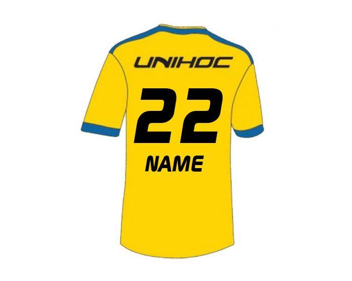 Unihoc Fan Shirt Schweden Unihockey WM 14 hinten mit Druck