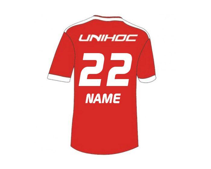Unihoc Fan Shirt Schweiz Unihockey WM 14 hinten mit druck